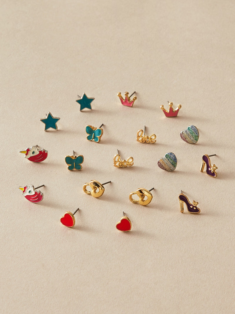 9pairs Toddler Girls Heart & Star Shaped Earrings Set - FD
