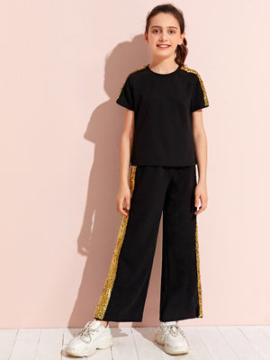Girls Sequin Panel Top & Pants Set