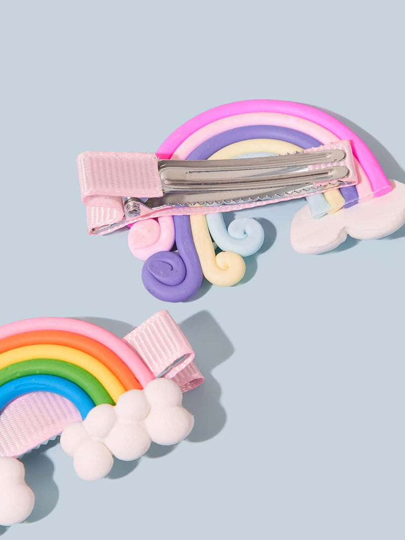 6pcs Toddler Girls Rainbow & Lollipop Design Hair Clip