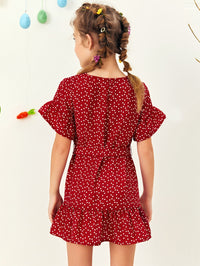 Girls Ruffle Trim Heart Print Belted Smock Dress - FD