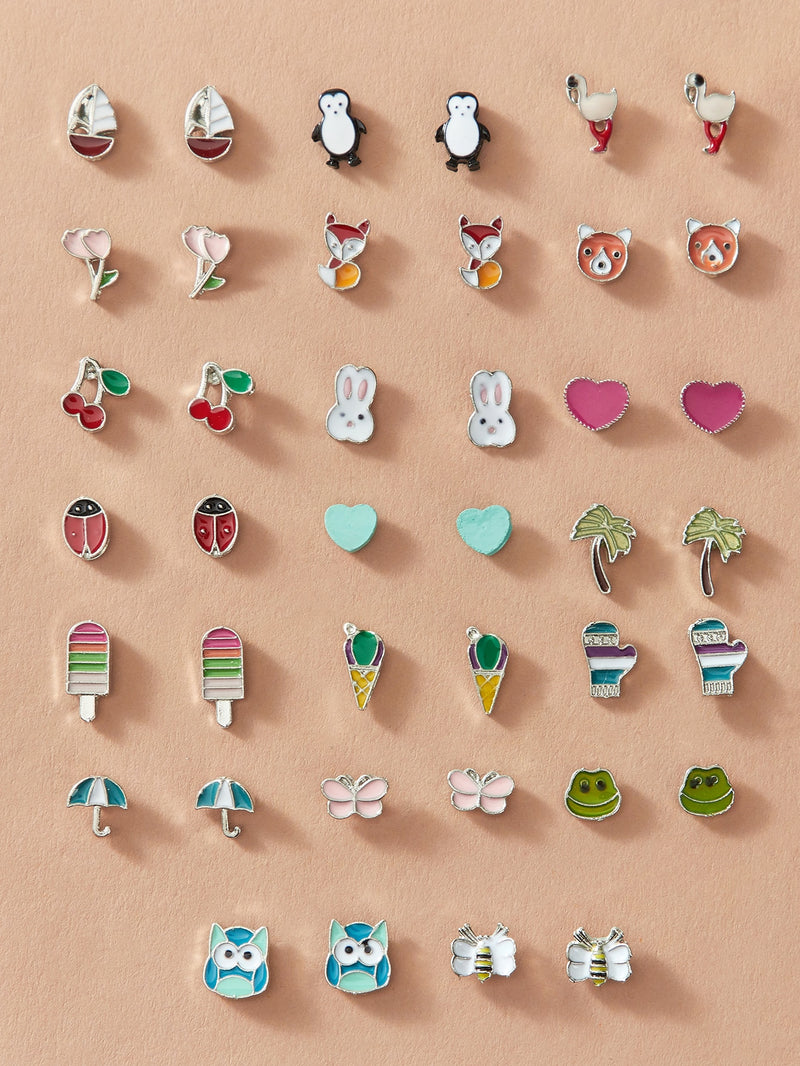 20pairs Toddler Girls Heart & Bee Shaped Earrings