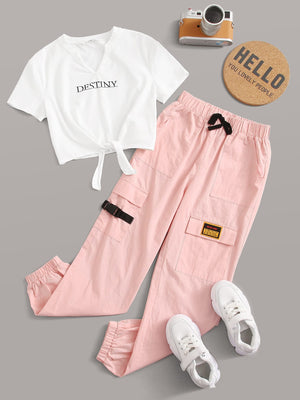 Girls Notch Neck Tie Hem Tee and Patched Cargo Pants Set