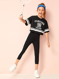 Girls Slogan Graphic Stripe Tee & Leggings Set