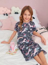 Girls Cartoon Unicorn Print Night Dress