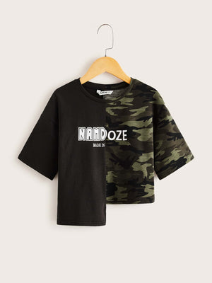 Girls Asymmetrical Hem Letter Graphic Camo Print Tee