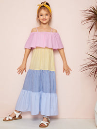 Girls Cold Shoulder Flounce Trim Striped Dress - FD