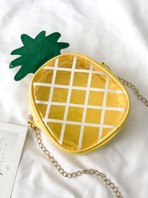 Girls Pineapple Graphic Clear Crossbody Bag