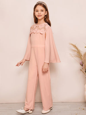 Girls Lace Yoke Cloak Sleeve Jumpsuit