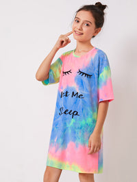 Girls Drop Shoulder Slogan Graphic Tie Dye Nightdress