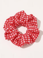 6pcs Girls Gingham Pattern Scrunchie - FD