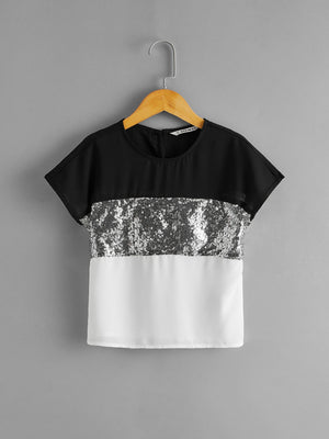 Girls Contrast Sequin Panel Batwing Sleeve Top