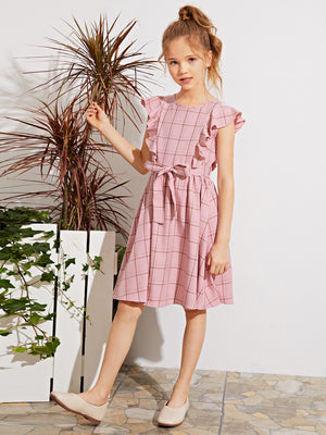 Girls Ruffle Armhole Self Belted Plaid Dress