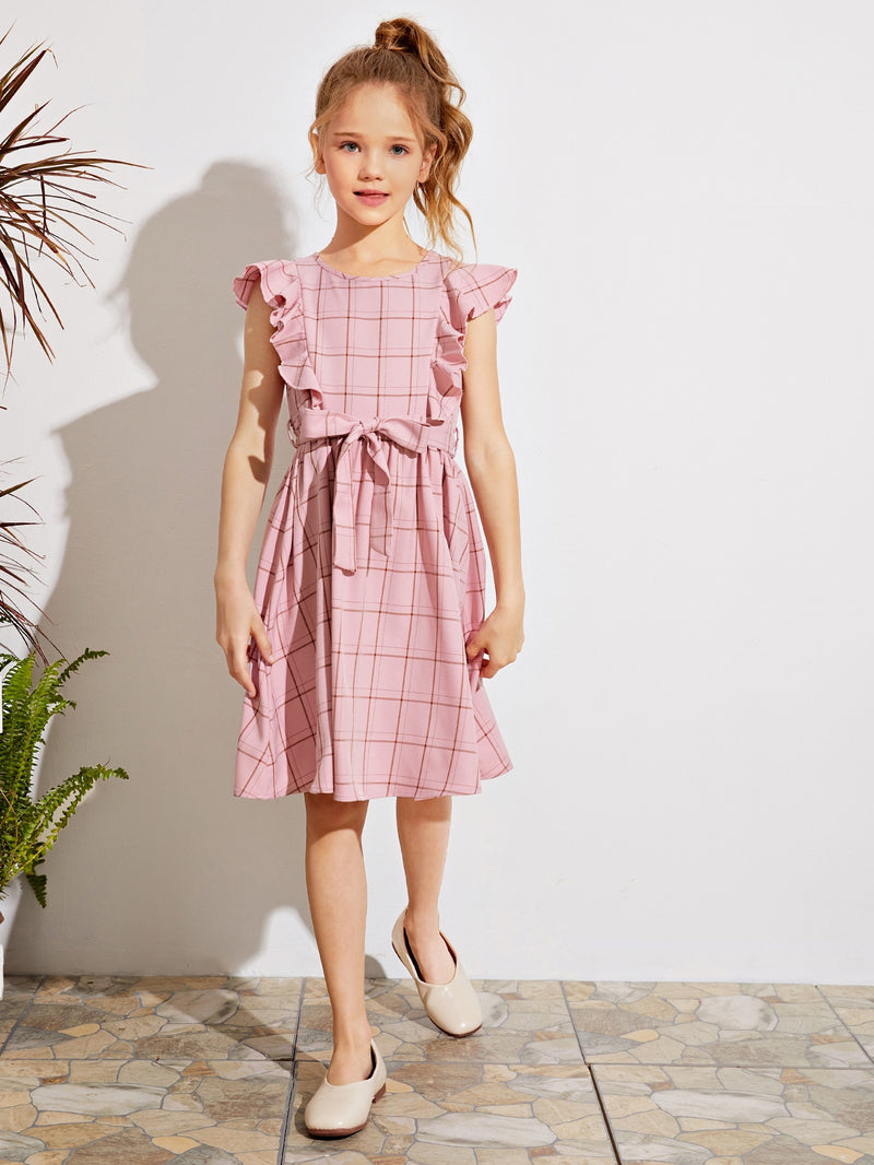 Girls Ruffle Armhole Self Belted Plaid Dress - FD