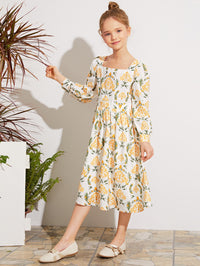 Girls Square Neck Lantern Sleeve All-over Print Dress