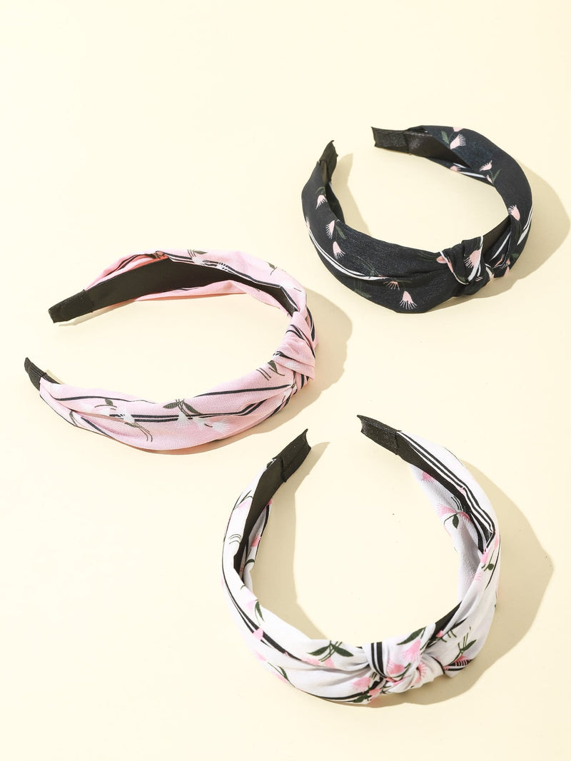 3pcs Girls Knot Decor Hair Hoop