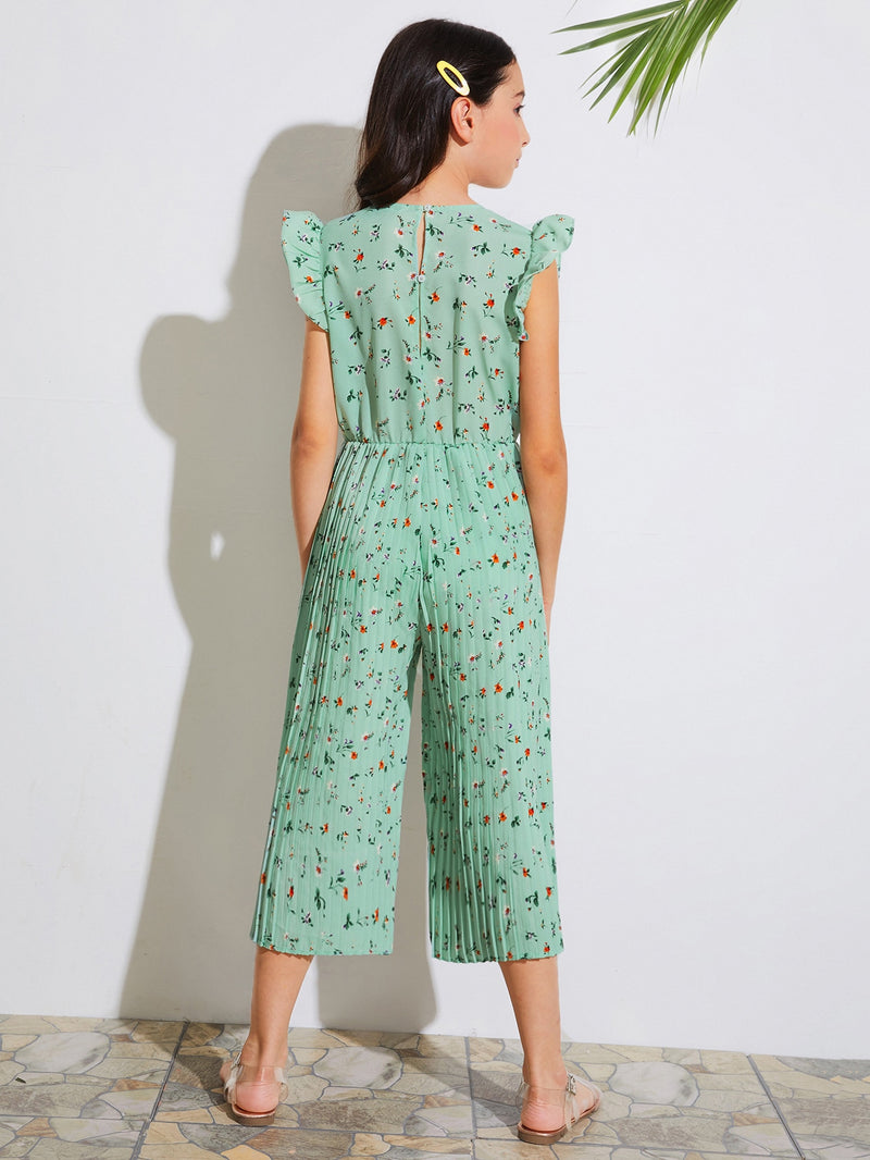 Girls Ditsy Floral Ruffle Armhole Pleated Wide Leg Jumpsuit - FD