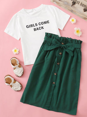 Girls Slogan Graphic Top & Paperbag Waist Buttoned Front Skirt Set