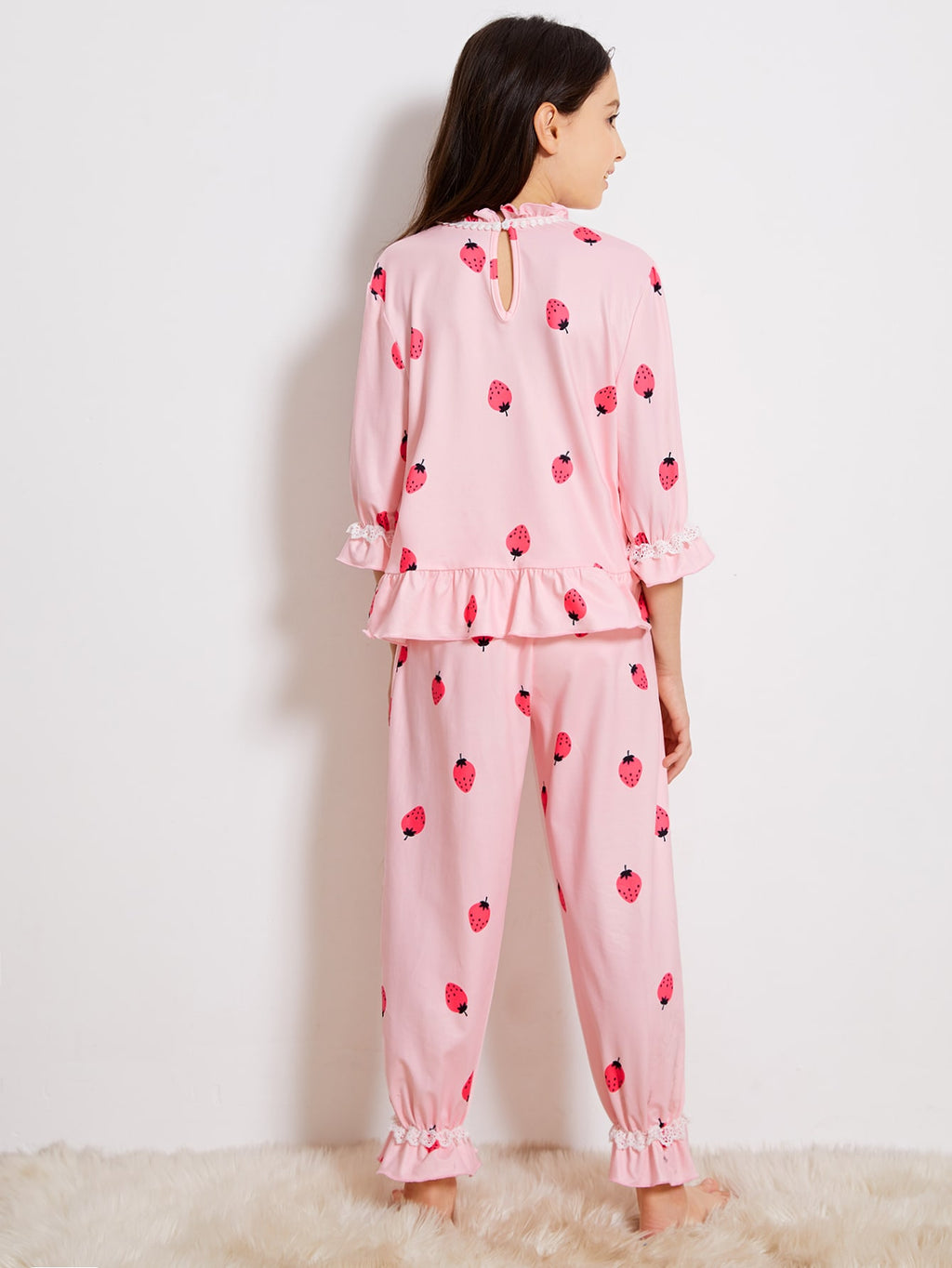 Girls Ruffle Trim Strawberry Print Top & Pants PJ Set