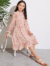 Girls Frilled Neck Ruffle Trim Shirred Waist Ditsy Floral Dress