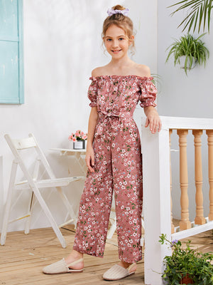 Girls Button Front Frill Trim Self Belted Bardot Jumpsuit
