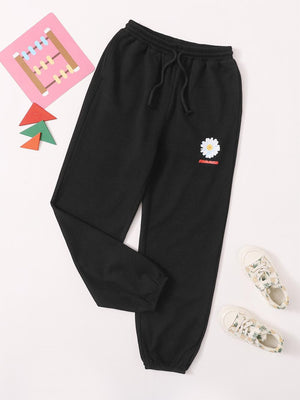 Girls Flower & Letter Graphic Sweatpants