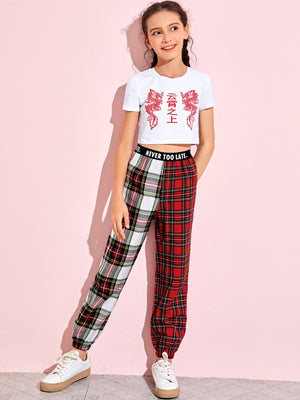 Girls Letter and Dragon Top & Spliced Tartan Pants Set