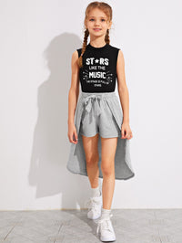 Girls Letter Graphic Tank Top & Shorts With Skirt Set