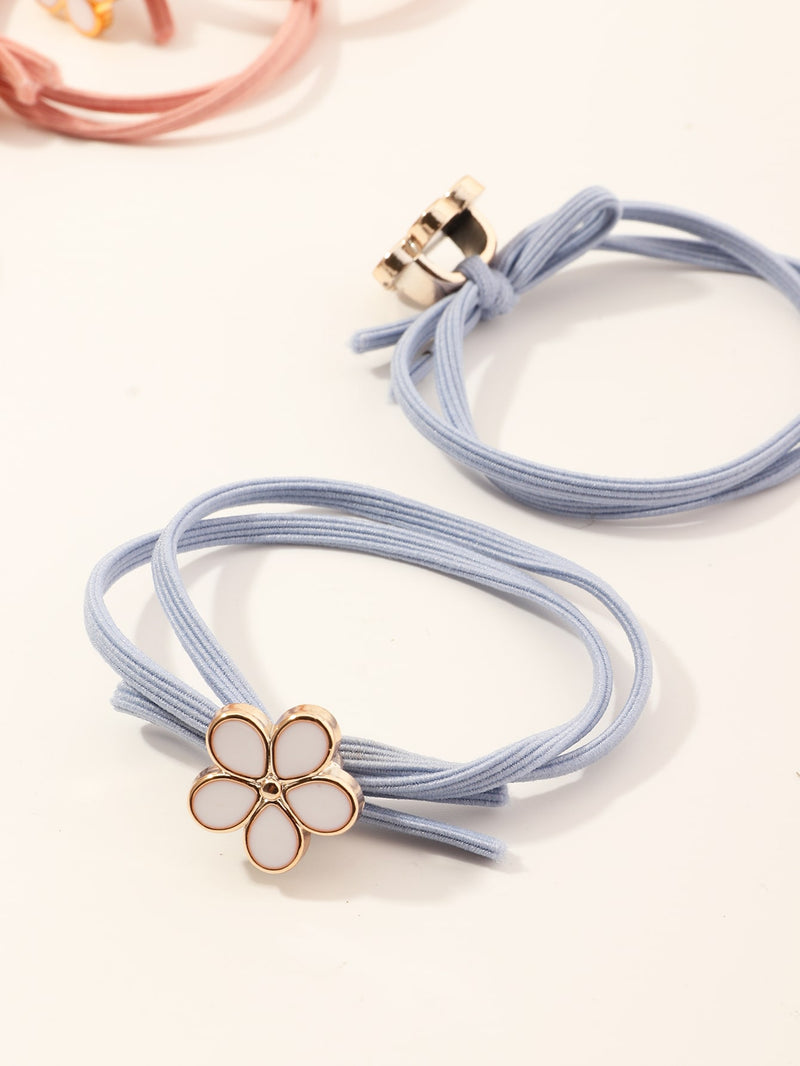 10pcs Toddler Girls Floral Decor Hair Tie - FD