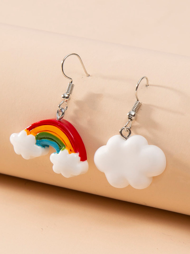 Girls Rainbow Charm Drop Earrings