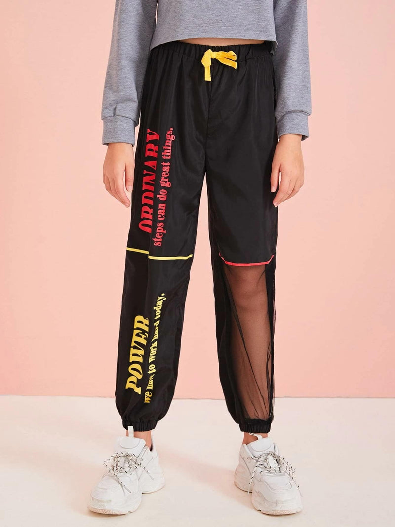 Girls Slogan Graphic Mesh Insert Wind Pants