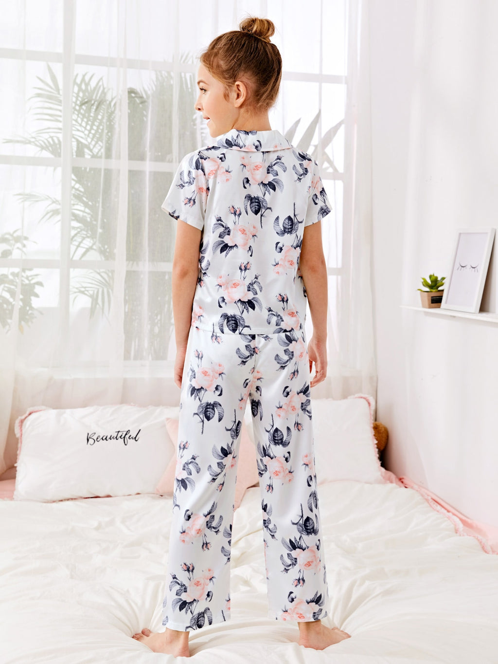 Girls Floral Satin Pajama Set