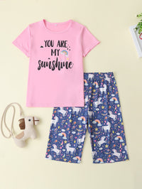 Girls Slogan And Cartoon Graphic Tee & Pants
