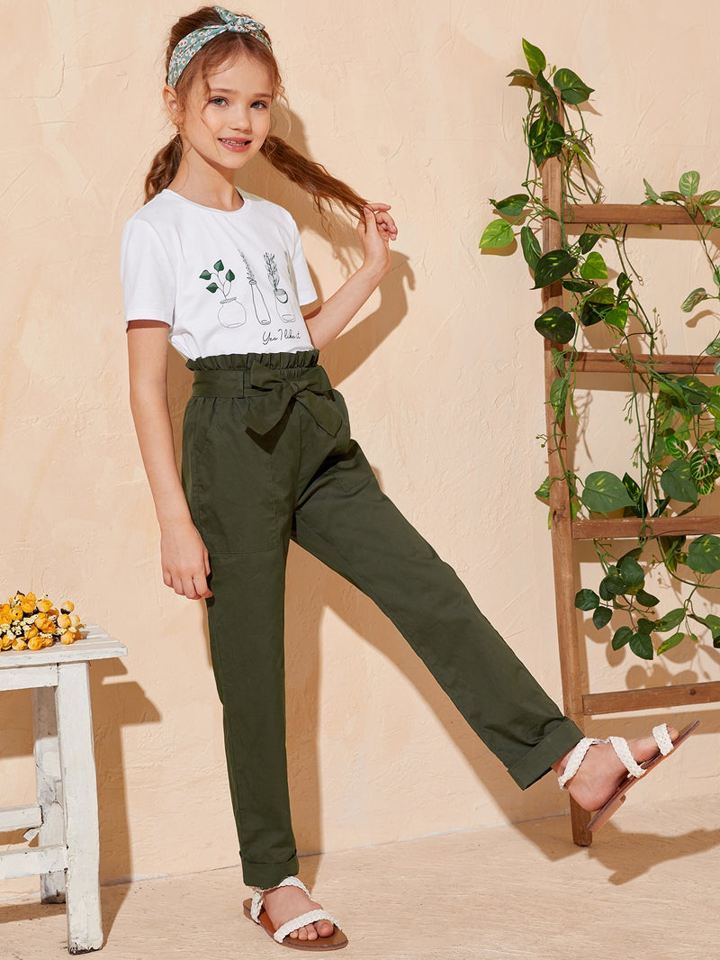 Girls Plant Print Top & Paperbag Waist Belted Pants Set