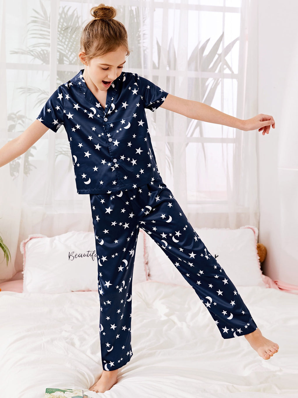 Girls Satin Galaxy Print Lapel Collar PJ Set