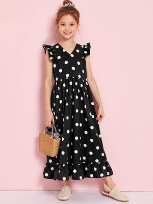 Girls V-neck Ruffle Armhole Polka Dot Dress