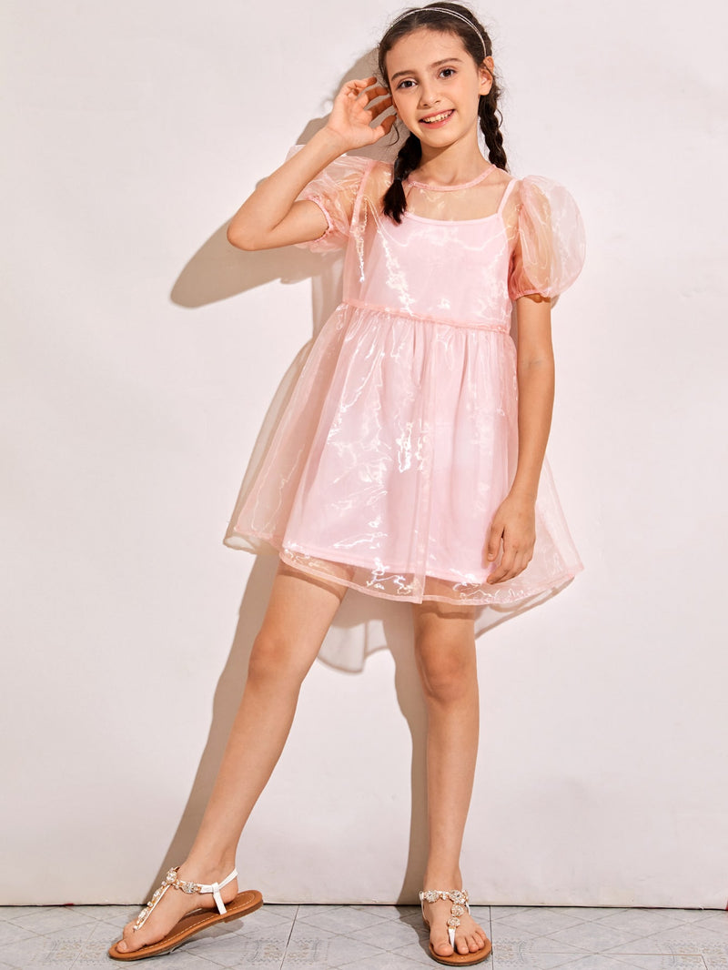 Girls Puff Sleeve Sheer Organza Dress With Camisole