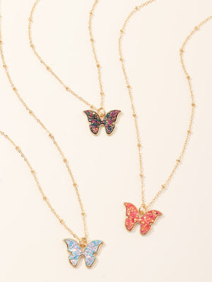 3pcs Girls Butterfly Charm Necklace