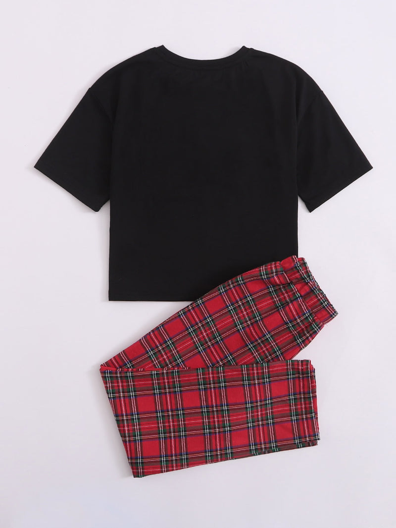 Girls Embroidery Patched Top & Tartan Pants Set