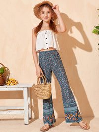 Girls Floral & Tribal Print Flare Leg Pants