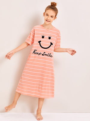Girls Drop Shoulder Smile Print Striped Night Dress