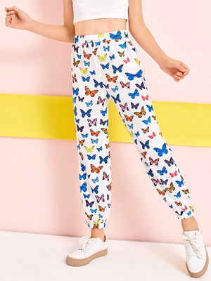 Girls Elastic Waist Butterfly Pants