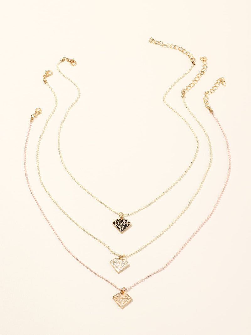 3pcs Girls Diamond Charm Necklace - FD