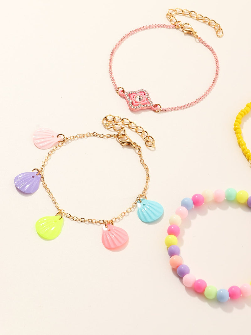 4pcs Girls Shell Charm Bracelet