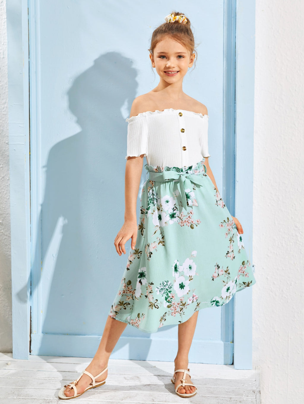 Girls Button Detail Bardot Top & Paperbag Waist Belted Skirt Set