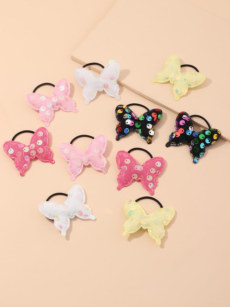 10pcs Toddler Girls Sequin Butterfly Hair Tie - FD
