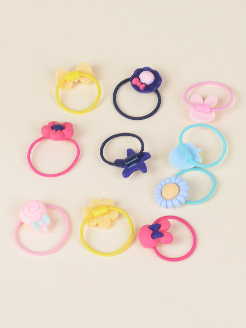 40pcs Toddler Girls Bow Decor Hair Tie