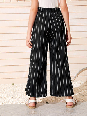 Girls Knot Front Ruffle Detail Striped Palazzo Pants