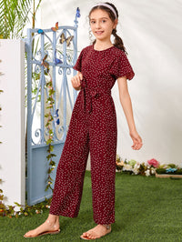 Girls Flutter Sleeve Polka Dot Belted Jumpsuit