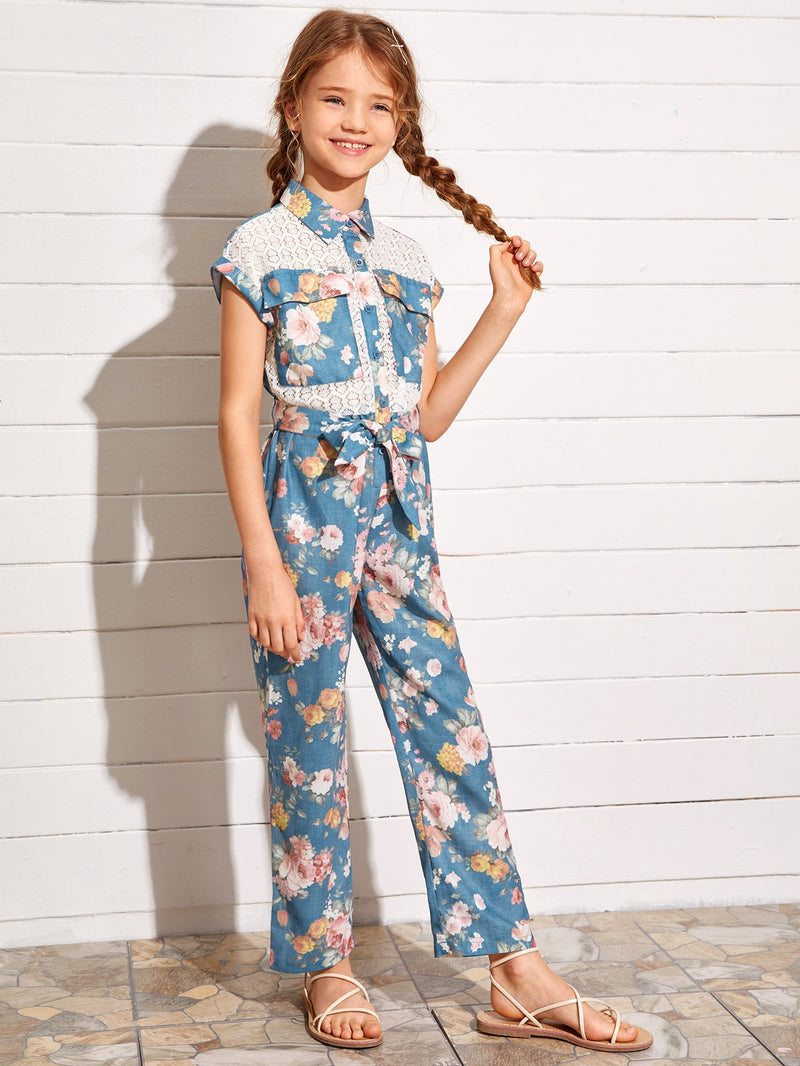 Girls Lace Insert Flap Pocket Front Self Belted Shirt Jumpsuit