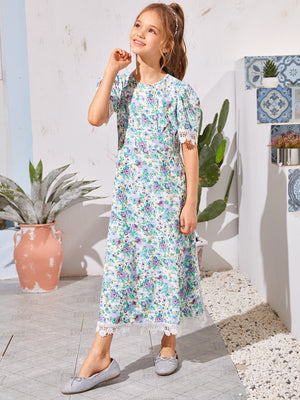 Girls Puff Sleeve Lace Trim Floral Dress